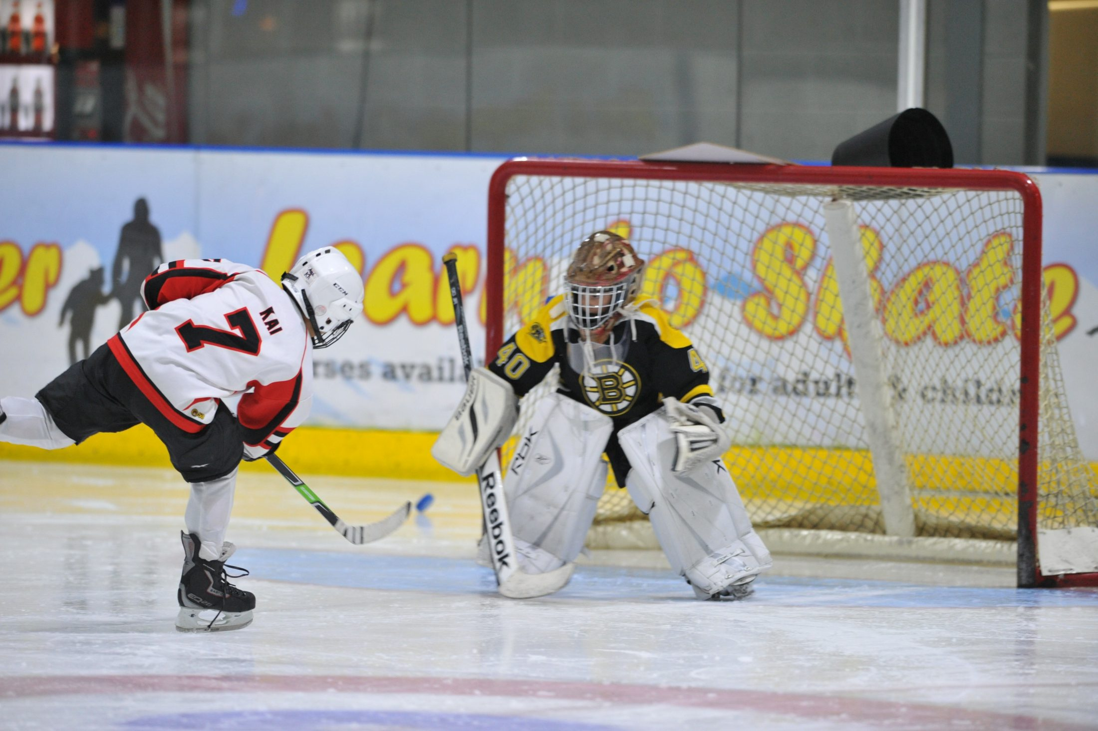 Junior ice hockey match at Silver Blades Ice Rink Widnes 18/01/2015